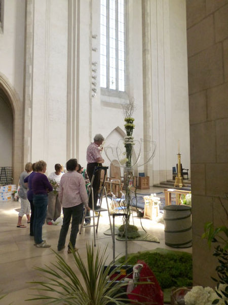 Preparing one of the displays in the Chancel