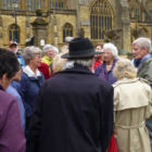 Guide Peter Welton tells members about the history of Sherborne Abbey (MS)