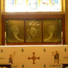 The Lawrence Whistler glass reredos in the Lady Chapel (MS)