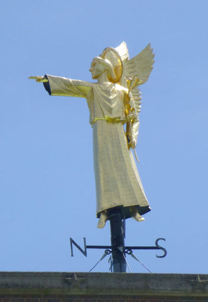 Detail of weathervane on  top of the tower - taken from the ground!