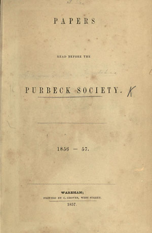 The Purbeck Society Book from 1856-57