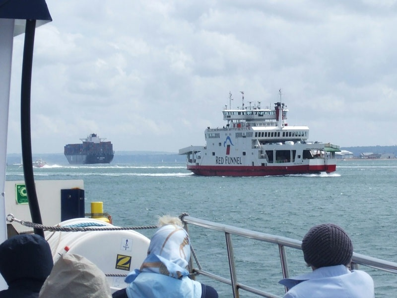 Passing a Red Funnel ferry off Fawley