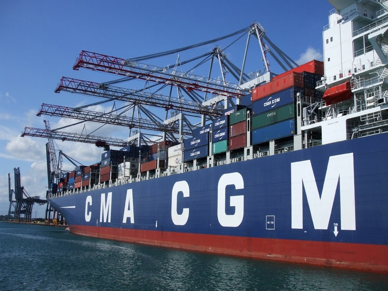 Container ship CMA CGM Cassiopeia loading at the container terminal